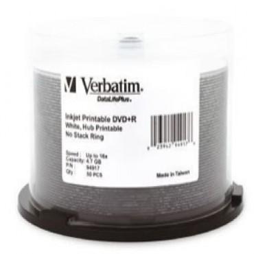 VERBATIM DVD+R 4.7GB White Inkjet Wide Print 50Pk 16x 94917