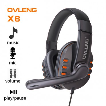 Ovleng X6 Wired Stereo Headphone with Microphone for Computer Games Orange AHSOVLX6ORG