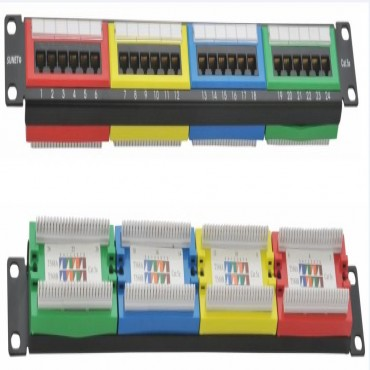 "Astrotek CAT5e UTP Patch Panel 24 Port 45 Degree Color Type 3U"" Gold Plated Black ATP-PP-U5E-24-C"