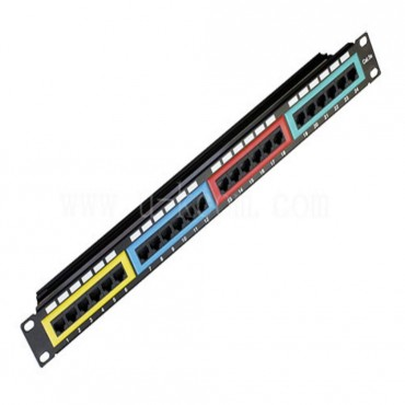 Astrotek CAT6 Patch Panel 24 Port PCB Type 110 IDC Type with Color Frame in Front & Cable Management