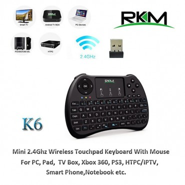 RKM K6 Keyboard 2.4G wireless Multi-Media remote control for PC, Android TV BOX, Smart TV, Game