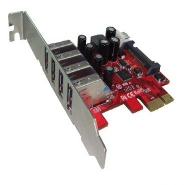 Shintaro PCIE USB3.0 x 4 Port Adapter (LP & FH brackets included) SHPCIEU34P