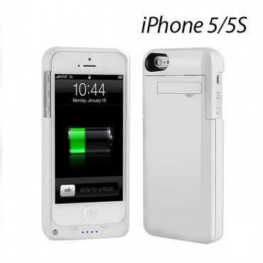 EZcool Battery Portable Charger Case For iPhone 5 5S white color MOBVMXIP5CHACAS-WH