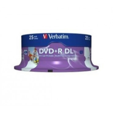 Verbatim DVD+R DL 8.5GB 25Pk White Wide IJ 8x 43667