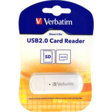 VERBATIM USB 2.0 SD & MICROSD CARD READER (WHITE) 64792