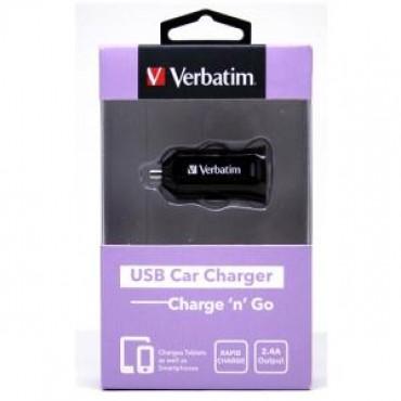 VERBATIM USB CAR CHARGER 2.4A - BLACK 64957