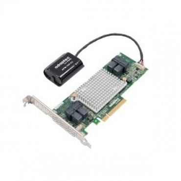 ADAPTEC 81605ZQ SAS/SATA 12Gb/s PCIe Gen3 RAID adapter maxCache Plus. Low-profile/MD2 16 internal ports 0 external ports 1024MBonboard DDR3 x8 2281600-R