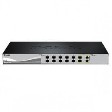 D-LINK 12-Port 10 Gigabit WebSmart Switch with 12 SFP+ Ports and 2 10GBase-T (Combo) ports DXS-1210-12SC