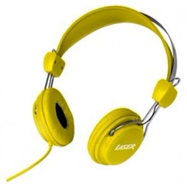 Laser AO-HEADK-YE Headphones Stereo Kids Friendly Colourful Yellow