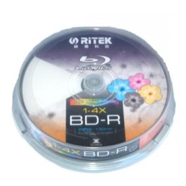 RITEK Blu-Ray BD-R 2X 25GB 130Min White Top Printable 10pcs BMDRITBLU2XRC10