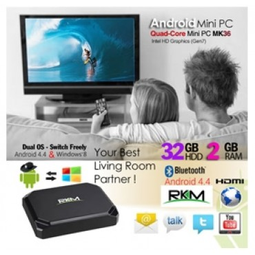 RKM MK36 Quad Core Intel Baytrail Mini PC with Dual OS (Windows 8.1 and Android 4.4) / 2G DDR3/