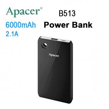 APACER Mobile Power Bank B513 6000mAh Black MOBAPAPBANK513B6000