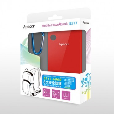 APACER Mobile Power Bank B513 6000mAh Red MOBAPAPBANKB513RD