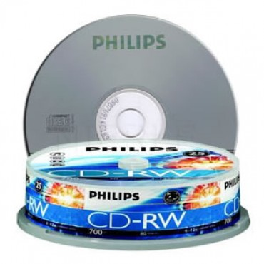 Philips CDRW 1X-12X 80 mins(Tube of 10) BMDPHI12XCDRW10