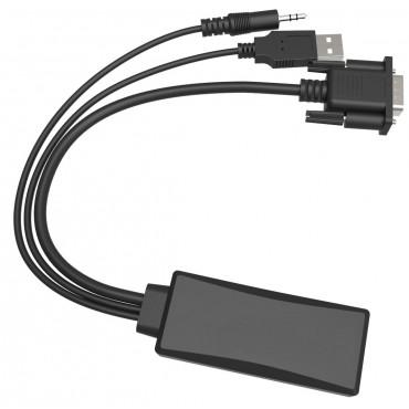 Astrotek VGA/ HDMI Cable adaptor VGA HDB15 Male + USB A Male(AUDIO+Power supply) to HDMI A Male