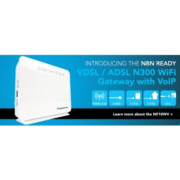 Netcomm NF10WV N300 WiFi VDSL/ ADSL Modem Router with VOIP Gigabit WAN, 4 x LAN, 2 x FXS,