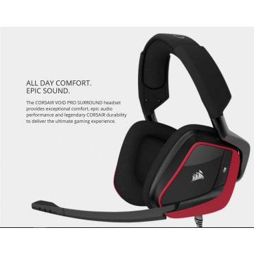 Corsair VOID PRO Red Wired Surround Premium Gaming Headset with Dolby Headphone 7.1 CA-9011157-AP