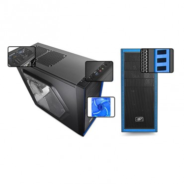 DeepCool Case : Tesseract SW Mid Tower Side Window Includes 2 Blue 120mm LED Fans Blue CASE-TSRSW-BK
