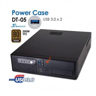 POWERCASE DT05 SLIM DESKTOP with 2 x USB3.0 Ports + Bonus SEASONIC 300W TFX PSU GOLD CASPOWDT05U3G