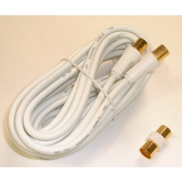 Sansai TV/ Video RF Cable with Gender Changer 5M M-M Coaxial Cable with Adaptor CB-5M