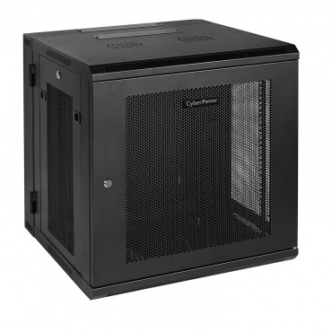 "CyberPower CR12U51001 19"" 12U 600mm Deep Swing Out Wall Mount Enclosure, Hex Perforated Metal"