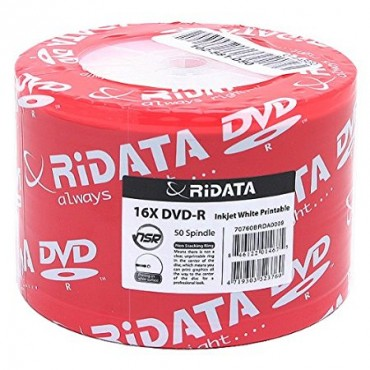 Ritek 16x DVD-R: 4.7GB Spindle 50pc Inkjet White Printable ( Ridata ) DVD-R 16X(Printable)