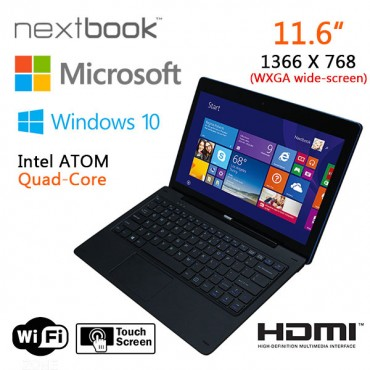 Nextbook 11.6 Inch 32G/ Windows 10/ Quad Core with HDMI Output Tablet PC (refurbished) ELENEX1106BFP-RF