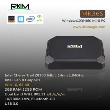 RKM MK36S SMART TV BOX Cherry Trail Z8300 WIN10 2G 32G DUAL BAND WIFI BT4.0 ELERKMMK36S