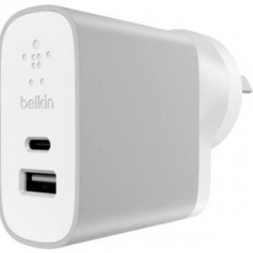 BELKIN 15W USB-C WALL CHARGER USB-C(1) USB A(1) SILVER-WHITE F7U011BGSLV