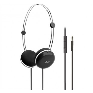 iLuv Sweet Cotton High-Fidelity Stereo Headphones with SpeakEZ Remote for iPad / iPhone / iPod Black iHP613