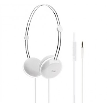 iLuv Sweet Cotton High-Fidelity Stereo Headphones with SpeakEZ Remote for iPad / iPhone / iPod White iHP613
