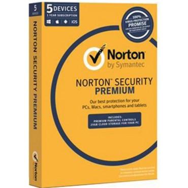Symantec Norton Security Premium , OEM Software, Single Pack, 5 User, 1 Year License 21353883