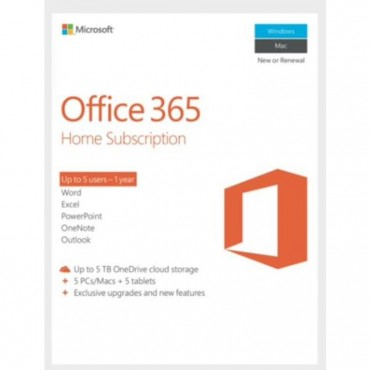 Microsoft Office 365 Home , License Software, 1 Year Subscription, 5 Devices, 32bit/64bit, Medialess,