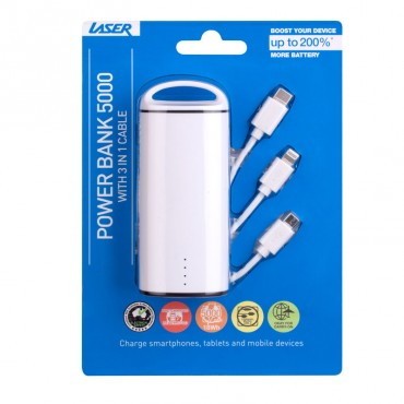 LASER Round Tube 5000 mAh Power Bank with 3 in 1 Cable PB-RT5000-WHT