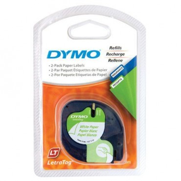Dymo LetraTag Paper Tape/ 12mm X 4m/ White/ 2 Pack. SD92630