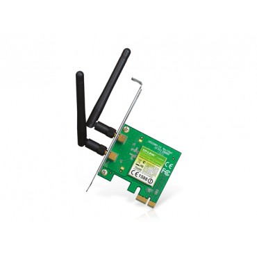 TP-Link PCI Express Adapter: 300Mbps Wireless N Atheros, 2T2R, 2.4GHz, 802.11n/ g/ b, 2 detachable antennas