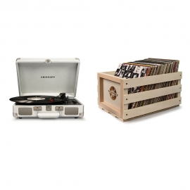 Crosley Cruiser Deluxe Portable Turntable (white Sand) + Free Storage Crate Cr8005d-ws
