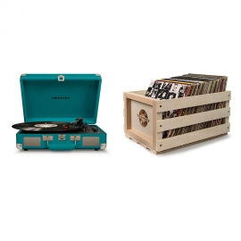 Crosley Cruiser Deluxe Portable Turntable - Teal + Free Record Storage Crate CR8005D-TL