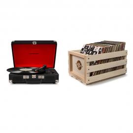 Crosley Cruiser Deluxe Portable Turntable (Black) + Free Storage Crate CR8005D-BK