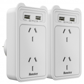 Huntkey Sac207 Smart Wall Charger With 2 Ac And 2 Usb Combined 2.4A (Twin Pack) Psuhunsac207Twin