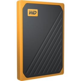 Western Digital MY PASSPORT GO PORTABLE SSD 500GB USB 3.0 SPEEDS UP TO 400 MB/S BUILT-IN CABLE AMBER COLORED 3Y (WDBMCG5000AYT-WESN)