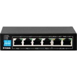 D-Link 6-Port PoE Switch with 4 Long Reach 250m PoE Ports and 2 Uplink Ports DES-F1006P-E