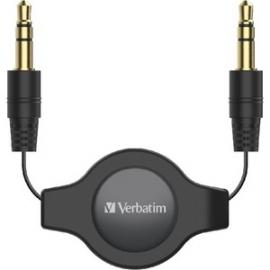 Verbatim 3.5Mm Aux Audio Cable Retractable 75Cm - Black 66573