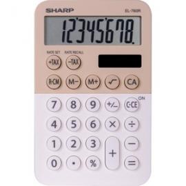Sharp 8 DIGIT DUAL POWERED TAX 3 MEMORY POCKET CALCULATOR - LATTE EL760RBLA