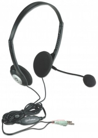 Manhattan Stereo Headset With Microphone And Volume Control Dual 3.5mm Jack (one Year Warranty)
