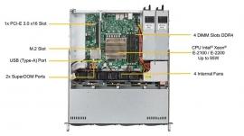 "Supermicro Superserver 5019C-Mr 1U Rackmount Barebones Single Socket Lga1151 4 Dimm Slots 4 X 3.5"" Hot Swap 1 X M.2 2Gbe Lan 400W Rpsu Sys-5019C-Mr"