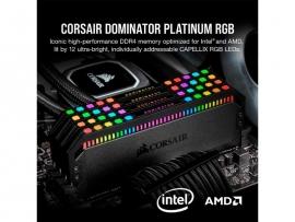 Corsair DDR4, 3200MHz 16GB 2x8GB DIMM, Unbuffered, 16-20-20-38, XMP 2.0, DOMINATOR PLATINUM RGB Black Heatspreader, RGB LED, 1.35V (CMT16GX4M2E3200C16)