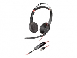 PLANTRONICS BLACKWIRE C5220 UC STEREO USB-A & 3.5MM CORDED HEADSET 207576-201