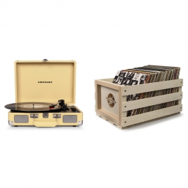 Crosley Cruiser Turntable - Fawn + Bundled Record Storage Crate CR8005D-FW