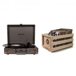 Crosley Cruiser Turntable - Slate Grey + Bundled Record Storage Crate CR8005D-SG